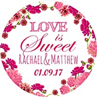 Wedding Floral V1 Sticker Labels Personalised Seals Ideal for Party Bags, Sweet Cones, Favours, Jars, Presentations Gift Boxes, Bottles, Crafts