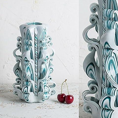 Große, weiße und türkise Hawdala-Kerze - sanfte Farben - dekorativ geschnitzte Kerzen - EveCandles