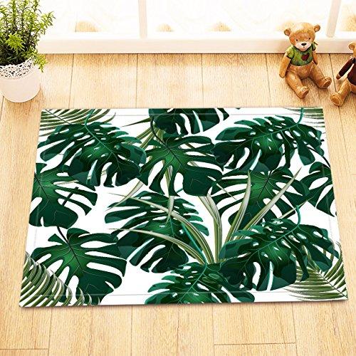 dschungel teppich LB Dschungel-Tropische Palmblätter,Monstera.Blumenmuster.Weiß,grün/Dekor Badematte Rutschfest waschbar weich Duschdecke 40X60 cm