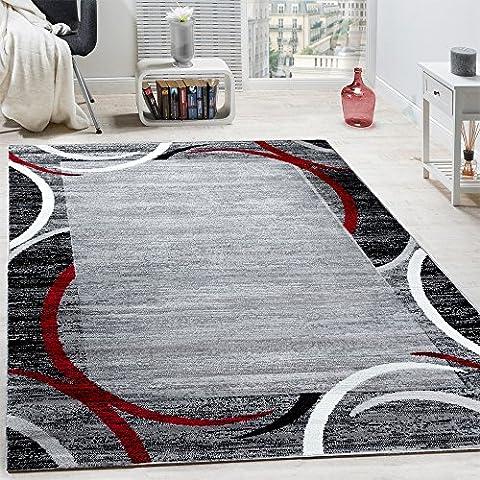 Wohnzimmer Teppich Bordüre Kurzflor Meliert Modern Hochwertig Grau Schwarz Rot, Grösse:120x170 cm