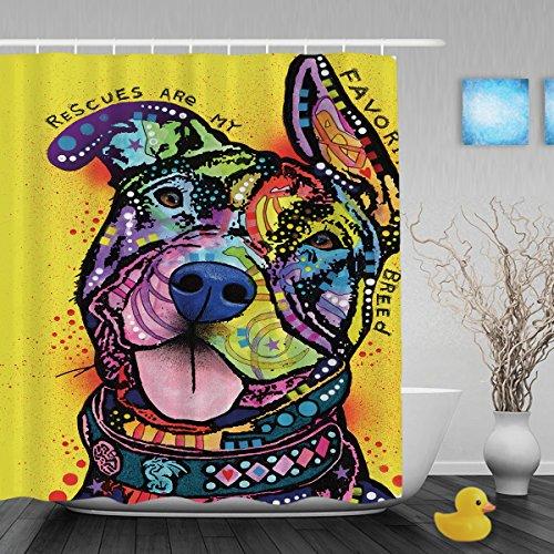 Gute Geschenk Pitbull Serie Dusche Vorhänge Art Hund Home Decor Badezimmer Duschvorhänge Polyester-Wasserdicht-Custom 152,4x 182,9cm, Polyester, Multi5, 60