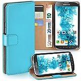 moex Samsung Galaxy S4 Active | Hülle Türkis mit Karten-Fach 360° Book Klapp-Hülle Handytasche Kunst-Leder Handyhülle für Samsung Galaxy S4 Active Case Flip Cover Schutzhülle Tasche