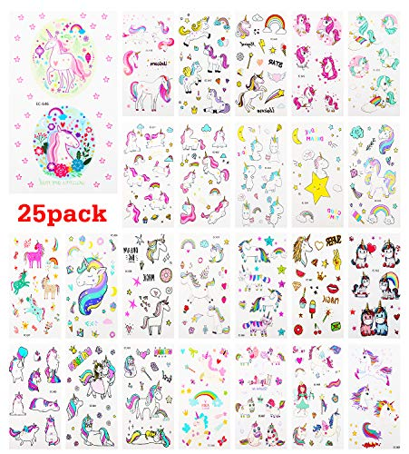 Zooawa Unicorn Temporary Tattoo Sticker, [25 Sheet] Cartoon Party Favor Tattoos Waterproof & Removable Body Stickers Lively Unicorn Fake Tattoos Stickers Set for Kids, Boys and Girls - Colorful