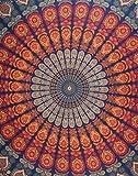 Telo decorativo da muro, stile indiano hippie bohemian pavone mandala taglia: L