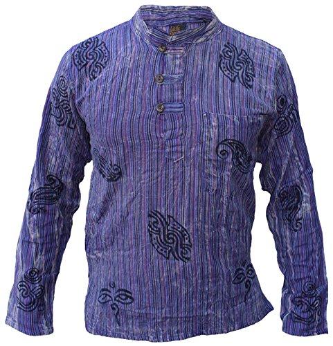 Little Kathmandu Herren Baumwolle Stein Gewaschen Sommer Freizeit Hemd Purple XX-Large -
