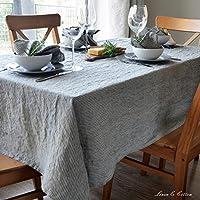 Linen & Cotton Lusso Tovaglia da Tavola BJORN, 100% Lino - Beige/A Righe Nero (153 x 300cm)