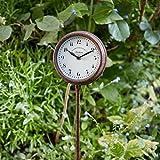 Garten Stake Uhr Outdoor Metall Grenze Dekoration Rost Finish 2 Jahre Garantie