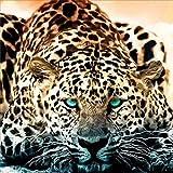 Selvaggio Golden Leopard 5D Diamond-Studded DIY Artigianato Pittura parziale Trapano Ricamo Punto Croce Artigianato Decorazione della parete di casa