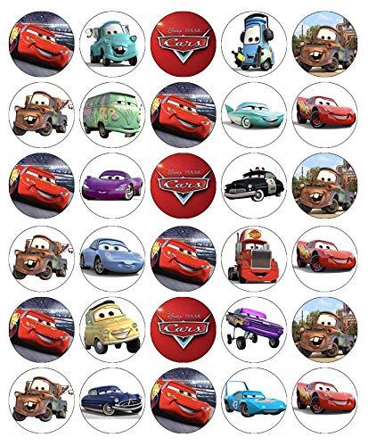 Disney Cars Cupcake-Topper, essbares Oblatenpapier, Feen-Motiv, 30 Stück