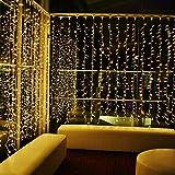LED Lichterkette , Unibelin Lichterketten Vorhang 304 LEDS 8 Modi Wasserfest Lichterketten für Weihnachten, Party, Hochzeit, Balkon, Hotel Warmweiß