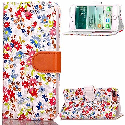 iPhone 7 Plus Coque, Apple iPhone 7 Plus Coque, Lifeturt [ Orange ] Motif Pure Couleur Housse en Cuir Case à Avec La Fonction Stand Coque de Intérieure Protection Souple Coque Portefeuille TPU Silicon E2-Blanc