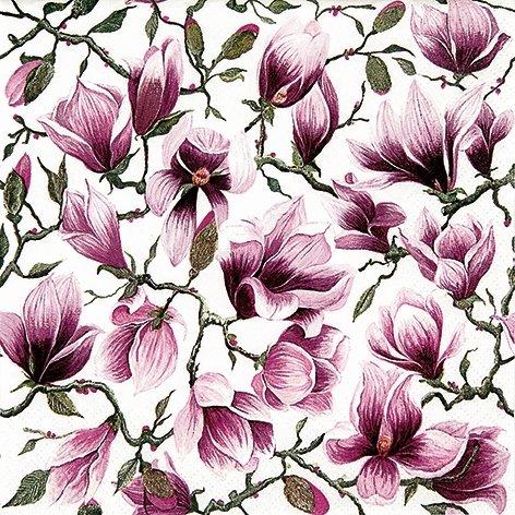 20 Servietten 33x33 cm Magnolie Blüten Blumen Sommer lila