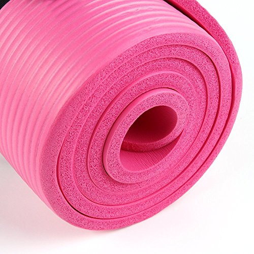 EXERCISE MAT NBR 15mm Thickness YOGA FITNESS WORKOUT PILATES CAMPING with carry strap (PINK)