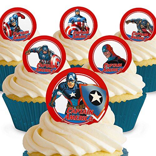 Cakeshop 12 x PRE-CUT Captain America Comic Edible Cake Toppers