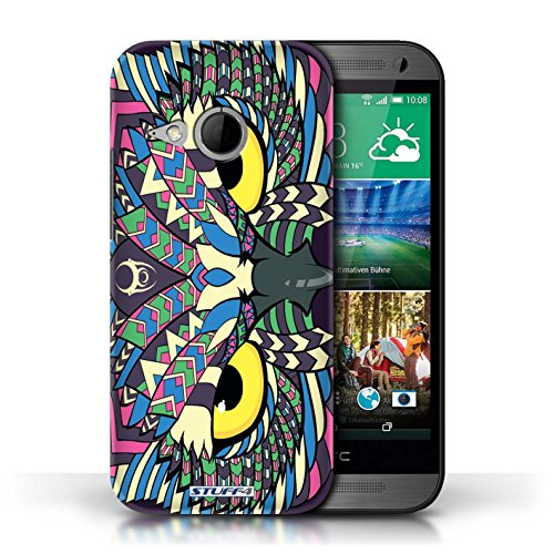 Coque de Stuff4 / Coque pour HTC One/1 Mini 2 / éléphant-Orange Design / Motif Animaux Aztec Collection Hibou-Couleur