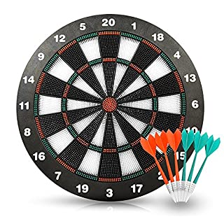 AQS INTERNATIONAL 16'' Safety Dart Board With Soft Tip Darts Party Fun Game Set Gift Stipple DartBoard Kids Family Friend Party Game