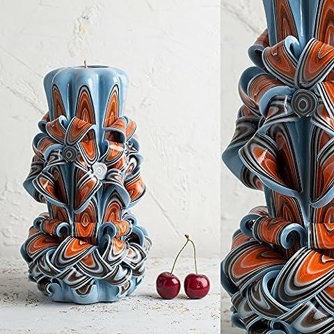 Orange und Blau Schöne geschnitzte dekorative Kerze aus Paraffin handgefertigte künstlerische Meisterwerk - EveCandles