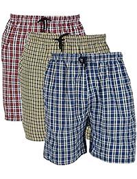 Rebizo Men's Cotton chekered Shorts (Multi-Coloured, XL) pack of 3