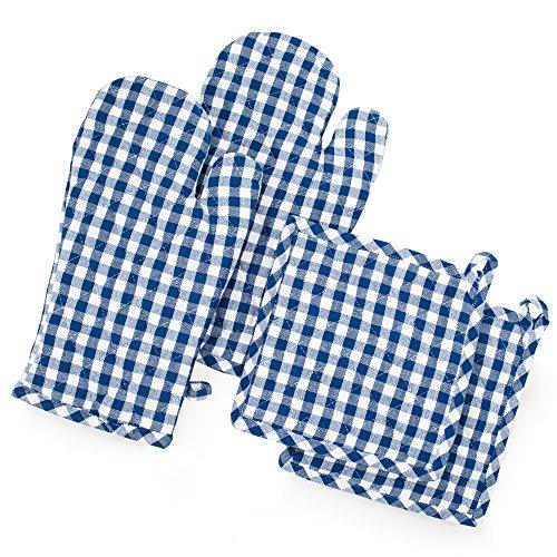FILU Ofenhandschuhe + Topflappen (2+2 Set) (Blau/Weiß)