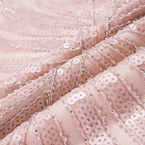 Metme Damen der 1920er Jahre Vintage Prom Fransen Pailletten lange Flapper brüllend Gatsby Kleid für Party Hell-Pink