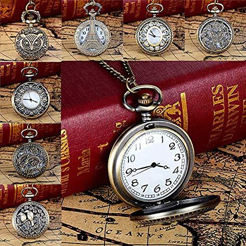 Homeofying Vögel/Turm/Eule/Blume Vintage Bronze Anhänger Halskette Kette Quarz Taschenuhr Taschenuhr 5#