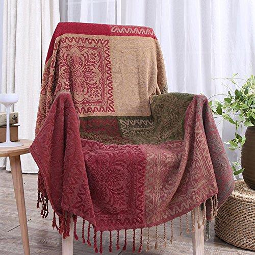 XYSFT Chenille Strick Kordel, Sofa Decke, TV, Sofa Handtuch, Freizeit Kuscheldecke, rot/grün, 150cm*190cm -