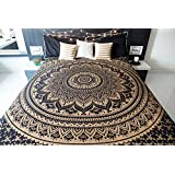 Tapestry Lovers Ombre Black And Golden Tapestry Hippie, Mandala Wall Hanging Bohemain Bedspread Bed Cover Mandala Wall Tapestries Ombre Bedding Twin Size 84 X 54 Inches Single Bedsheet Tapestry