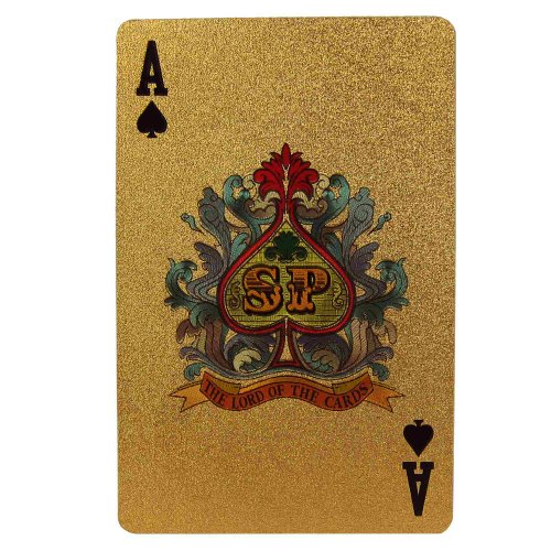 ShalinIndia Novelty Playing Cards Deck in 999.9 Gold Plating Unusual Gift From India