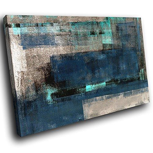 AB1628A gerahmte Leinwanddruck Bunte Wand-Kunst - Blau Grau Teal Cool - modernes abstraktes Wohnzimmer Schlafzimmer Bild Stück Wohnkultur Interior Design Einfach Hang Guide - Teal Grau-wand-kunst