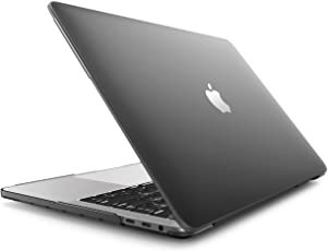 Enthopia Cover for MacBook Pro 13 inch - A1706 / A1708 With Silicone Keyboard Guard & Dust Plug -Logo Visible through the Logo Cut Hole (Black)