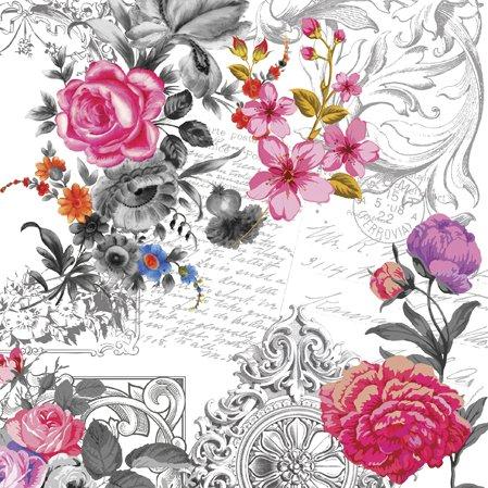 ruckendes Rosenszenario/Vintage/Blumen/Rosen 33x33cm ()