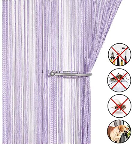 Liqy Retro PlainTassel Door Curtain Fly Insect Bug Screen String For Doorways Divider or Window Curtain Panel 90x200cm , Fly Screen