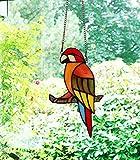 makenier Tiffany-Stil gebeizt Glas rot Papagei Fenster Aufhängen Sun Catcher