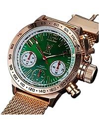 Konigswerk AQ100126G - Reloj para hombre con esfera verde con cronógrafo y correa dorada y rosa