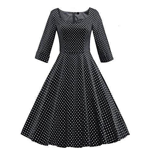 LUOUSE 1950er 1/2 Hülsen Damen Vintage Retro Kleider Swing (Jahre Kleidung Herren 50er)