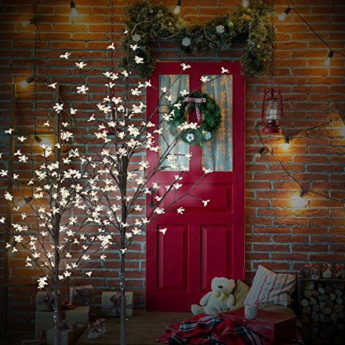 Cclife albero luminoso decorativo di natale con fiori, 8 effetti di luce,forma regolabile, colore:bianco freddo, dimensione:220cm