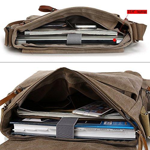 Zicac Neu Herren Canvas Schultertasche Schultasche für Outdoor Canvas Leder Umhängetaschen Vintag Tasche Canvas Rucksack Canvas Aktentasche (Khaki(1)) Kaffee