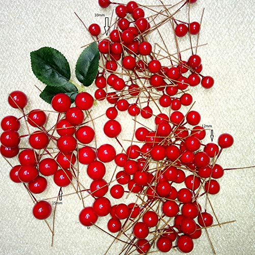 Leoie 10mm DIY Simulate Red Berry for Christmas Tree Garlands Wedding Decoration 100pcs