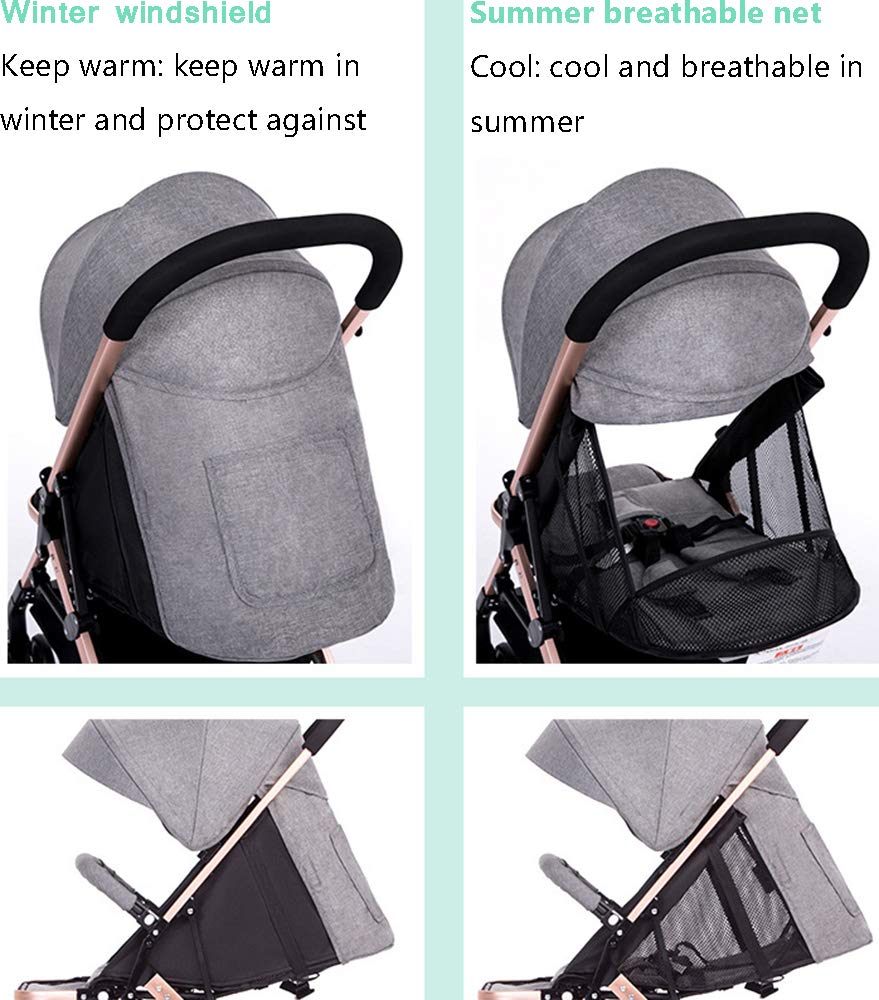 MYRCLMY Double Stroller Twin Baby Stroller,Can Sit And Detachable,Ultralight Portable Folding Backrest Push Handle Double Trolley Jogging Four-Wheel Four Seasons Universal,Brown MYRCLMY *TWIN STROLLER: Getting everywhere with two little ones has never been easier, thanks to the Double Strollers; you can glide around town even when you only have one hand free to steer; you can even roll through a standard size doorway. *ADJUSTABLE BACKREST & CONNECTABLE SEATS :The backrest can adjust to fit baby's sleep posture to keep comfortable sleeping. Two seats can be connected to lengthen the seat. *SAFETY WHEELS & 5-POINT SAFETY BELTS:The springs in front wheels absorb shocks for easy to control direction and safety. The 5-point safety belt is equipped with each seat to ensure security while keeping your baby fit to the safety belt to feel comfortable. 4
