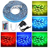 PryEU LED Stripes Streifen Licht 12V 2M Band Leiste Lichterkette Wasserdicht 5050 SMD RGB Farbwechsel inklusive IR Fernbedienung und Netzteil für Wohnzimmer Schrank Schlafzimmer Bett TV