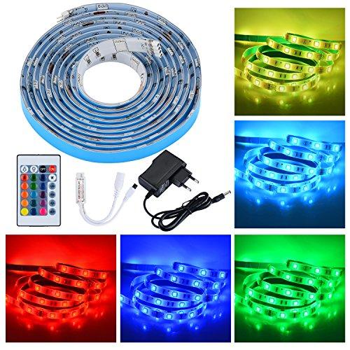 PryEU LED Band Streifen Stripe Lichterkette Strip Licht 12V 78.7 Zoll 2M 5050 SMD RGB Farbwechsel Wasserdichter inklusive IR Fernbedienung 24 Tasten und Netzteil mit EU-Stecker