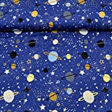 MAGAM-Stoffe Jersey-Kinder-Stoff ''Weltraum Wunder'' | dunkelblau Gold glänzend | Meterware je 50cm | QX-2-10