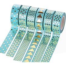 Cosanter Washi Tape Masking Tape 6er Set Klebeband Dekoband hellblau Gold für Scrapbooking DIY 15mm x 10m