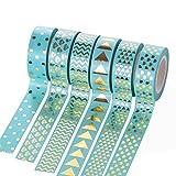 Laat tuercas cinta adhesiva papel decorativo carrocero cinta Masking Tape para agenda regalo 6pcs, papel, azul, 10m x 15mm