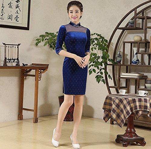Luck Femme Cheongsam Courte 3/4 Manche pour Eté Automne en Velours Bleu