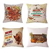 Happy Thanksgiving Kürbis Maple Leaf Fall Baumwolle Leinen Quadratisch Überwurf Taille Kissen Fall dekorative Kissenhülle Kissenbezug Sofa,45 x 45cm, Baumwoll Leinen,4 Stück (E)