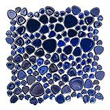 Fliesen Mosaik Mosaikfliese Classic Kiesel uni kobalt blau glänzend 5mm Neu #192
