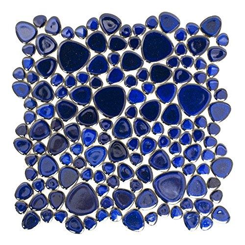 Fliesen Mosaik Mosaikfliese Classic Kiesel uni kobalt blau glänzend 5mm Neu #192 - Kobalt-boden