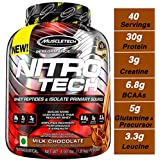 Muscletech Performance Series Nitrotech Whey Protein Peptides & Isolate (30g Protein, 1g Sugar, 3g Creatine, 6.9 BCAAs, 5g Glutamine & Precursor, Post-Workout) - 4lbs (1.81kg) (Milk Chocolate)
