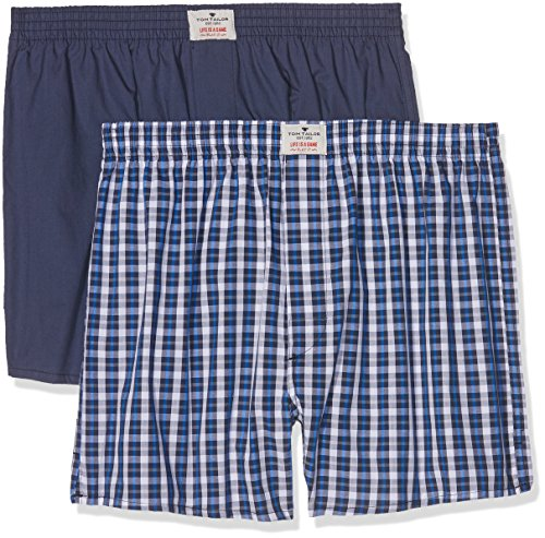TOM TAILOR Herren Boxershorts Web-shorts 2er Pack Blau (blue-medium-check 624)